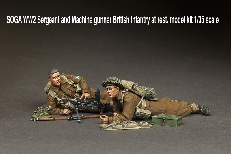 SOGA-WW2-Sergeant-and-Machine-gunner-British-infantry-at-rest.-model-kit-135-scale