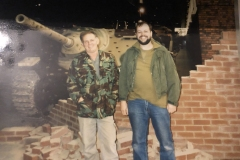 Mike & Paul Middleton at Duxford in front of a German Hetzer.